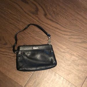 Coach black leather mini wristlet